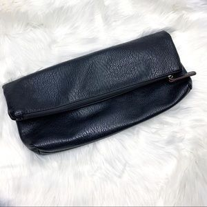 Free People Black Poly Zip Clutch